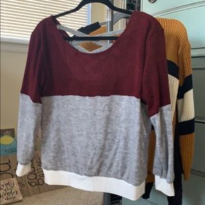 Burgundy and gray sweater